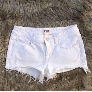 PINK White Distressed Denim Jean Shorts